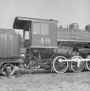 2018.008.GBW.S.214--bruce meyer 120 neg--GB&W--steam locomotive 2-8-0 49 on display detail at museum--North Freedom WI--1988 0529