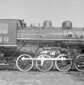 2018.008.GBW.S.216--bruce meyer 120 neg--GB&W--steam locomotive 2-8-0 49 on display detail at museum--North Freedom WI--1988 0529