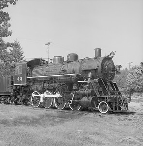 2018.008.GBW.S.220--bruce meyer 120 neg--GB&W--steam locomotive 2-8-0 49 on display detail at museum--North Freedom WI--1988 0529