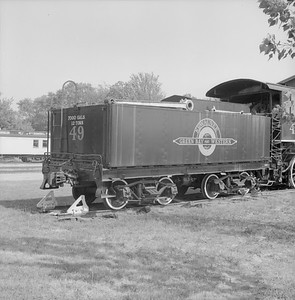 2018.008.GBW.S.213--bruce meyer 120 neg--GB&W--steam locomotive 2-8-0 49 on display detail at museum--North Freedom WI--1988 0529