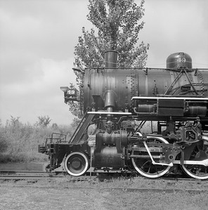 2018.008.GBW.S.227--bruce meyer 120 neg--GB&W--steam locomotive 2-8-0 49 on display detail at museum--North Freedom WI--1989 0820