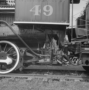 2018.008.GBW.S.230--bruce meyer 120 neg--GB&W--steam locomotive 2-8-0 49 on display detail at museum--North Freedom WI--1989 0820