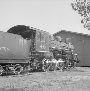 2018.008.GBW.S.212--bruce meyer 120 neg--GB&W--steam locomotive 2-8-0 49 on display detail at museum--North Freedom WI--1988 0529