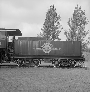 2018.008.GBW.S.226--bruce meyer 120 neg--GB&W--steam locomotive 2-8-0 49 on display detail at museum--North Freedom WI--1989 0820