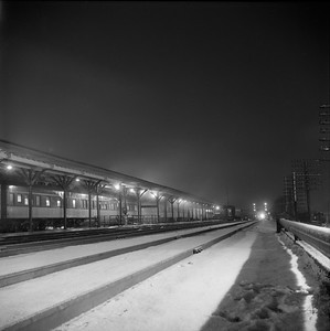 2018.008.IC.PD.01864--bruce meyer 120 neg--ICRR--southbound passenger train 9 Seminole night scene at station--Champaign IL--1958 1221