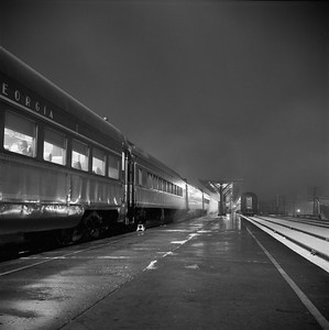 2018.008.IC.PD.01861--bruce meyer 120 neg--ICRR--southbound passenger train 9 Seminole night scene at station--Champaign IL--1958 1221