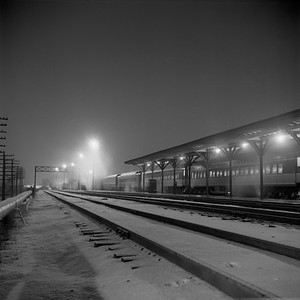 2018.008.IC.PD.01863--bruce meyer 120 neg--ICRR--southbound passenger train 9 Seminole night scene at station--Champaign IL--1958 1221