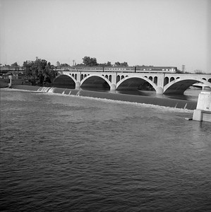 2018.008.IC.PD.02065--bruce meyer 120 neg--ICRR--obs on hind end of northbound passenger train City of Miami crossing bridge--Kankakee IL--1958 0803