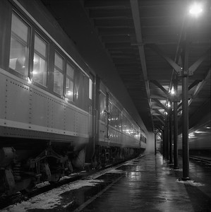 2018.008.IC.PD.01862--bruce meyer 120 neg--ICRR--southbound passenger train 9 Seminole night scene at station--Champaign IL--1958 1221