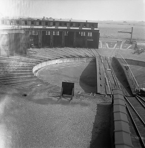 2018.008.IC.Z.0273--bruce meyer 120 neg--ICRR--turntable view from roof of roundhouse--Champaign IL--1955 0730