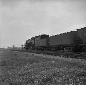 2018.008.IC.S.1017--bruce meyer 120 neg--ICRR--steam locomotive 2-10-2 2808 on eastbound coal freight train action--east of Princeton KY--1957 0715