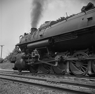 2018.008.IC.S.1180--bruce meyer 120 neg--ICRR--steam locomotive 2-10-2 2808 on westbound coal train action--Princeton KY--1957 0716