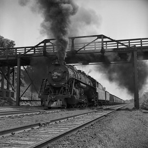 2018.008.IC.S.1179--bruce meyer 120 neg--ICRR--steam locomotive 2-10-2 2808 on westbound coal train action--Princeton KY--1957 0716
