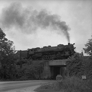 2018.008.IC.S.1018--bruce meyer 120 neg--ICRR--steam locomotive 2-10-2 2808 on eastbound coal freight train action--east of Princeton KY--1957 0715
