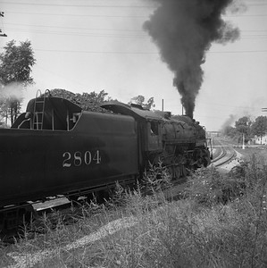 2018.008.IC.S.1171--bruce meyer 120 neg--ICRR--steam locomotive 2-10-2 2804 on westbound coal freight train action--Princeton KY--1957 0716