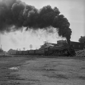 2018.008.IC.S.1170--bruce meyer 120 neg--ICRR--steam locomotive 2-10-2 2804 on westbound coal freight train action--Princeton KY--1957 0716