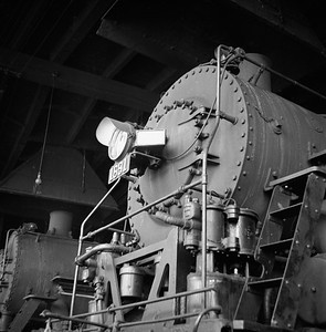 2018.008.IC.S.0387--bruce meyer 120 neg--ICRR--steam locomotive 2-8-2 1691 inside roundhouse--Champaign IL--1956 0218