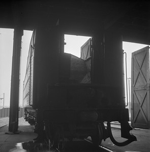 2018.008.IC.S.0547--bruce meyer 120 neg--ICRR--steam locomotive 2-8-2 1691 tender inside roundhouse--Champaign IL--1956 0912