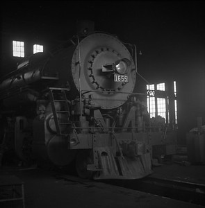 2018.008.IC.S.0610--bruce meyer 120 neg--ICRR--steam locomotive 2-8-2 1655 inside roundhouse--Champaign IL--1956 1211
