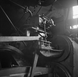2018.008.IC.S.0549--bruce meyer 120 neg--ICRR--steam locomotive 2-8-2 1691 detail inside roundhouse--Champaign IL--1956 0912