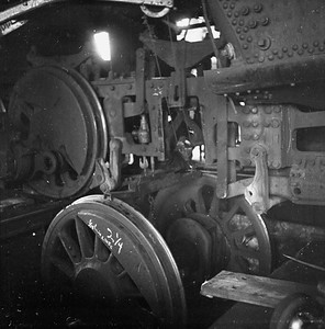 2018.008.IC.S.0608--bruce meyer 120 neg--ICRR--steam locomotive 2-8-2 1655 detail driver dropped in drop pit inside roundhouse scene--Champaign IL--1956 1211
