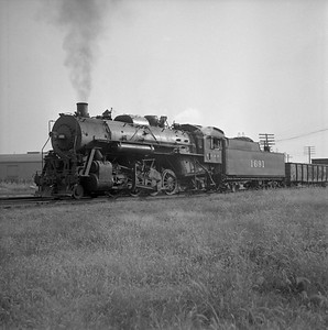 2018.008.IC.S.0583--bruce meyer 120 neg--ICRR--steam locomotive 2-8-2 1691 in yard--Champaign IL--1956 1019