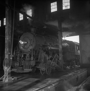 2018.008.IC.S.0600--bruce meyer 120 neg--ICRR--steam locomotive 2-8-2 1691 pulling into roundhouse--Champaign IL--1956 1028