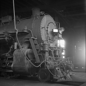 2018.008.IC.S.0550--bruce meyer 120 neg--ICRR--steam locomotive 2-8-2 1691 inside roundhouse--Champaign IL--1956 0912