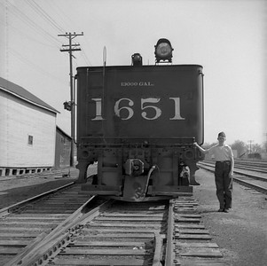 2018.008.IC.S.0149--bruce meyer 120 neg--ICRR--steam locomotive 2-8-2 1651 rear tender view--Bloomington IL--1954 0000