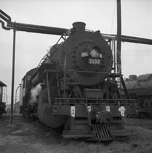 2018.008.IC.S.1558--bruce meyer 120 neg--ICRR--steam locomotive 2-8-2 2102 front view--Carbondale IL--1957 1227