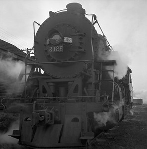 2018.008.IC.S.0162--bruce meyer 120 neg--ICRR--steam locomotive 2-8-2 2126 front view--Champaign IL--1955 0000