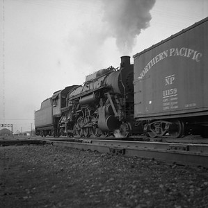 2018.008.IC.S.0326--bruce meyer 120 neg--ICRR--steam locomotive 2-8-2 2119 switching action--Champaign IL--1955 1210