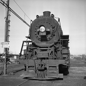 2018.008.IC.S.1702--bruce meyer 120 neg--ICRR--steam locomotive 2-8-2 2130 front view--Paducah KY--1957 1229