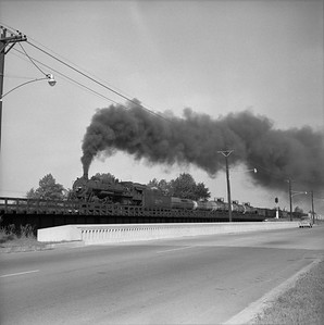 2018.008.IC.S.1166--bruce meyer 120 neg--ICRR--steam locomotive 2-8-2 2138 on eastbound freight train action--Paducah KY--1957 0716
