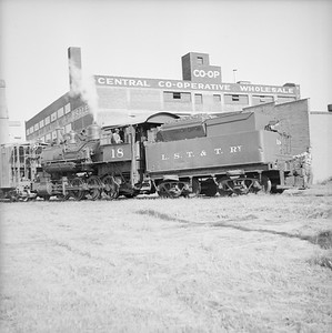 2018.008.LSTT.S.01--bruce meyer 120 neg--LST&T--steam locomotive 0-8-0 18 switching freight cars scene--Superior WI--1955 0702