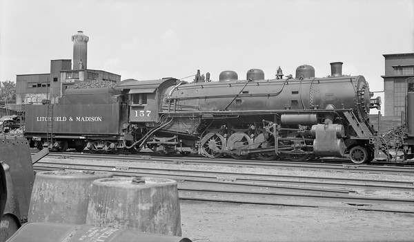 2018.008.LM.S.14--bruce meyer PC neg--L&M--steam locomotive 2-8-2 157--Edwardsville IL--1953 0700