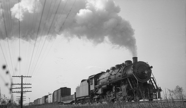 2018.008.LM.S.13--bruce meyer 116 neg--L&M--steam locomotive 2-8-2 160 on freight train action--Madison IL--1940 1107