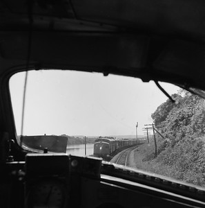 2018.008.MIL.0120--bruce meyer 120 neg--CMStP&P--view from EMD diesel cab of passenger train 16 of another passenger train meet--south of Red Wing MN--1961 0604