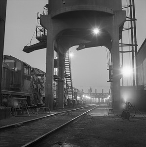 2018.008.NKP.D.0359--bruce meyer 120 neg--NKP--EMD diesel locomotive scene at service facility at Irondale--Chicago IL--1958 0619