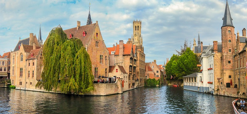 Panorama of a canal junction in Bruges.