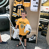 Boston Bruins FanFest came to Doyle Field on Thursday, August 22, 2019. Jacob Cox, 8, from Wilmington posed for a picture in Bruins Goalie Tuukka Rask's equipment in front of a mockup of Rask's locker at the FanFest. Cox also plays goalie for the North Shore Shamrocks. ENTINEL & ENTERPRISE/JOHN LOVE