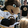 Boston Bruins FanFest came to Doyle Field on Thursday, August 22, 2019. Fans swarm the Bruins mascot Blades during the event. SENTINEL & ENTERPRISE/JOHN LOVE