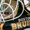 Boston Bruins FanFest came to Doyle Field on Thursday, August 22, 2019. Kids posed inside a giant goalie mask they had set up at the event. Jackson Lindberg, 7, of Winchendon posed inside it. SENTINEL & ENTERPRISE/JOHN LOVE