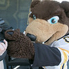 Boston Bruins FanFest came to Doyle Field on Thursday, August 22, 2019. Bruins mascot Blades hams it up for the camera during the event. SENTINEL & ENTERPRISE/JOHN LOVE