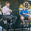 Boston Bruins FanFest came to Doyle Field on Thursday, August 22, 2019. Jack Edwards from NESN interviews Bruins Assistant Coach Joe Sacco during the event. SENTINEL & ENTERPRISE/JOHN LOVE