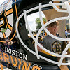 Boston Bruins FanFest came to Doyle Field on Thursday, August 22, 2019. Kids posed inside a giant goalie mask they had set up at the event. Posing inside it is Blake Parmeter, 10, and Zackary Parmeter, 13, both from Clinton. SENTINEL & ENTERPRISE/JOHN LOVE