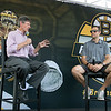 Boston Bruins FanFest came to Doyle Field on Thursday, August 22, 2019. Jack Edward, on left, with NESN interviews Andrew Alberts a Bruins Alumni during the FanFest. SENTINEL & ENTERPRISE/JOHN LOVE