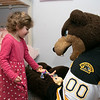 Bob's Discount Furniture partnered with the Boston Bruins and One Mission to donate and deliver new home furnishings to a local Fitchburg family. The youngest of the family Juliet Robichaud, 3, is currently battling Acute Myeloid Leukemia and Bob's wanted to commend her bravery by gifting Juliet her dream bedroom! In addition, the rest of the family got gifts for their rooms from the Bruins. Bruins Alum PJ Stock and mascot Blades were on hand to welcome Juliet home from school and surprise her with her new room on Tuesday, Jan. 7, 2019. Juliet shares a room with her sister Ellie, 7. Juliet and Blades hang out in her new room. SENTINEL & ENTERPRISE/JOHN LOVE