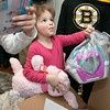 Bob's Discount Furniture partnered with the Boston Bruins and One Mission to donate and deliver new home furnishings to a local Fitchburg family. The youngest of the family Juliet Robichaud, 3, is currently battling Acute Myeloid Leukemia and Bob's wanted to commend her bravery by gifting Juliet her dream bedroom! In addition, the rest of the family got gifts for their rooms from the Bruins. Bruins Alum PJ Stock and mascot Blades were on hand to welcome Juliet home from school and surprise her with her new room on Tuesday, Jan. 7, 2019. Juliet shares a room with her sister Ellie, 7. Juliet shows off some of the toys she got from the team. SENTINEL & ENTERPRISE/JOHN LOVE