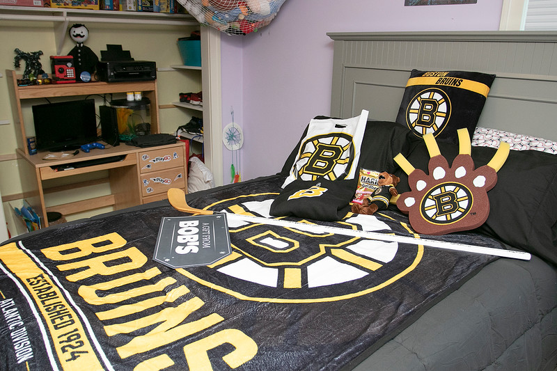 Bob's Discount Furniture partnered with the Boston Bruins and One Mission to donate and deliver new home furnishings to a local Fitchburg family. The youngest of the family Juliet Robichaud, 3, is currently battling Acute Myeloid Leukemia and Bob's wanted to commend her bravery by gifting Juliet her dream bedroom! In addition, the rest of the family got gifts for their rooms from the Bruins. Bruins Alum PJ Stock and mascot Blades were on hand to welcome Julia home from school and surprise her with her new room on Tuesday, Jan. 7, 2019. Juliet shares a room with her sister Ellie, 7. A look at Juliiet's brother Brayden's, 9, room and some of the stuff he got just before they got home from school. SENTINEL & ENTERPRISE/JOHN LOVE